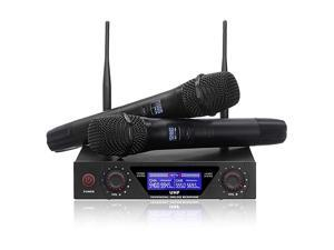 UHF Dual Channel Professional Handheld Wireless Microphone System with Dual Wireless Dynamic MicrophonesLCD Display Professional Home KTV Set for PartyMeetingKaraokeYouTubeClassroom Black