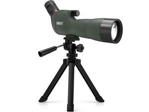 20-60x60mm BAK4 Prism Spotting Scope with Camera Tripod, 45-Degree Angled Big Eyepiece,Waterproof Fogproof FMC Spotter Scope for Target Shooting Bird Watching Archery Wildlife Scenery