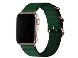 Leather Bands Compatible with Apple Watch band 38mm 40mm 42mm 44mmGenuine Leather Retro Strap Compatible for Men Women iWatch Series5 Series 4321 Olive Green+Gold Connector 38mm 40mm