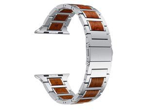 Compatible for Apple Watch Band 44mm 42mm, Natural Wood Red Sandalwood Stainless Steel Metal Strap for iWatch Bands Compatible for Apple Watch SE, Apple Watch Series 6/5/4/3, Silver