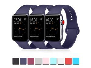 3 Compatible with Apple Watch Band 38mm 40mm 42mm 44mm Soft Silicone Band Replacement for Apple iWatch Series 4 Series 3 Series 2 Series 1 Navy BlueNavy BlueNavy Blue 38mm40mmSM