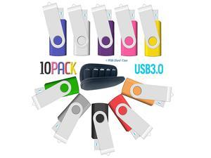 8GB USB Flash Drive 10 Pack,  USB Drives 8GB Bulk 10 Pieces with Easy-Storage Bag Memory Stick Swivel Thumb Drives 8 GB Gig Stick USB2.0 Pendrive, Zip Drive, USB Flash Drive,Mixed Color
