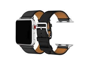 Band for iWatch Series 5 4 3 2 1 Luxury Genuine Leather Smart Watch Band Strap Single Tour Replacement for 42mm44mm Black Stitching 42mm44mm