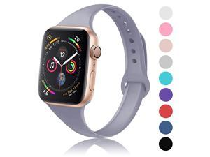 Sport Slim Silicone Band Compatible with Apple Watch 38mm 42mm 40mm 44mm Thin Soft Narrow Replacement Strap Wristband Accessory for iWatch Series 12345 Lavender Gray 38mm40mm