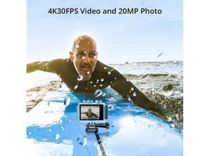 Brave 6 Plus Native 4K30FPS 20MP WiFi Action Camera with Touch Screen EIS 8X Zoom Voice Control Remote Control 131 Feet Underwater Camera with 2X 1350mAh Batteries and Helmet Accessories Kit