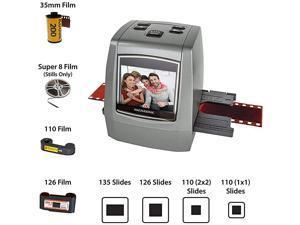 AllinOne High Resolution 22MP Film Scanner Vibrant 24 LCD Screen Converts 126KPK135110super 8 Film Slides Negatives into Digital Photos with Bonus 32GB SD Card FS50
