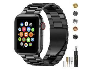 Stainless Steel Metal Band for Apple Watch 38404244mm Strap Replacement Link Bracelet Band Compatible with Apple Watch Series 6 Apple Watch Series 5 Apple Watch Series 1234Black 4244mm
