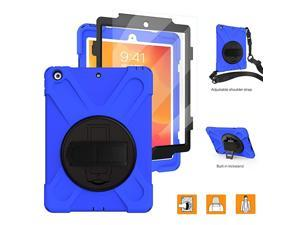 102 Inch iPad Case 20202019 with Strap Built in Screen Protector  iPad 8th7th Generation Case Heavy Duty Child Proof Shockproof Hard Rubber Case w 360 Degree Rotatable StandHand Strap Blue