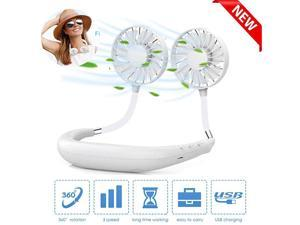 Fan Portable Fan Wearable Mini USB Fan Hand Free Personal Fan Desktop Fan 3 Speeds USB Rechargeable 360 Degree Adjustment for Kids Home Office Outdoor Travel