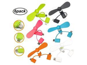 Mini Fan 3in1 Portable Phone Fan for iPhoneiPad Android Micro USB Type C Connectors 6Pack