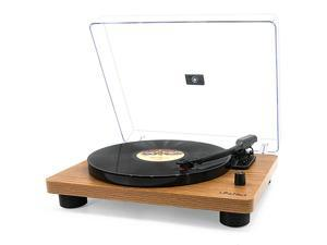 Bluetooth Vinyl Record Player, Belt-Drive Stereo Turntable for 3-Speed Vinyl Records with Convert Vinyl to Digital (Analog & USB), Built-in Speakers and RCA Output, Dark Brown