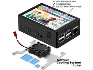 2020 Latest Raspberry Pi 4 Touchscreen  35 inch 60+fps 480x320 Resolution HD Raspberry Pi Touchscreen with Cooling Fan and Case for Raspberry 4 Model BPi 4b Screen with Case