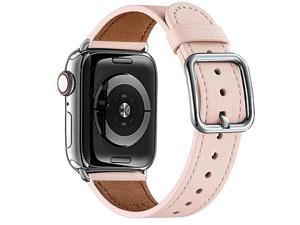 Compatible with Apple Watch Band 38mm 40mm 42mm 44mm Women Men Girls Boys Genuine Leather Replacement Strap for iWatch Series 6 5 4 3 2 1 iWatch SE Pink SandSilver 38mm 40mm