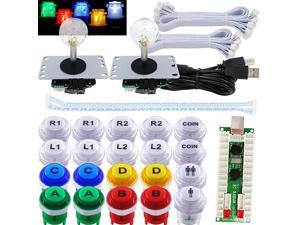2 Player Arcade Game LED DIY Kit LED Button Zero Delay USB Encoder Mechanical Keyboard Switch for PC Raspberry Pi Arcade Fight Joystick Xbox Style Color LED