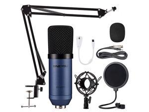Condenser Microphone  Computer Mic ZY007 Recording Bundle for Gaming Streaming YouTube Videos Professional Cardioid Microphone Include Adjustable Arm Stand Shock Mount and Pop FilterBlue