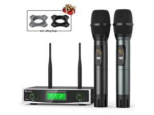Wireless Microphone System Two Handheld Dynamic Cordless Mic and Dual Channel Receiver 50 Selectable UHF Frequency for Karaoke Singing PartyChurchDJWeddingSchool PresentationK040