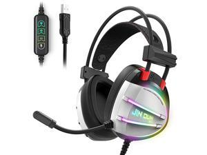 PS4 Gaming Headset,  True 7.1 Surround Sound Headphones with Noise Cancelling Mic, Ergonomic Soft Earmuffs, RGB Lights and in-line Volume Controller USB Computer Headsets for PC Laptop Mac