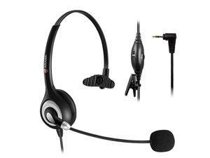 Headset 25mm Enhanced Noise Canceling Mic Mute Switch TeleHeadset for Panasonic ATT Vtech Uniden Cisco Grandstream Cordless s