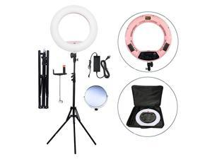 18 LED Ring Light Kit BiColor Dimmable Photo Studio Video Portrait Film Selfie YouTube Photography Lighting Set with PhoneCamera Holder Makeup Mirror Stand and Travel Bag Pink