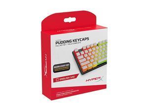 Pudding Keycaps Double Shot PBT Keycap Set with Translucent Layer for Mechanical Keyboards Full 104 Key Set OEM Profile English US Layout White