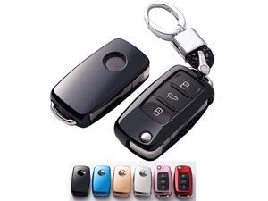 The Best New Premium Soft TPU Half Cover Protection Key Fob Cover With Key Chain Fit For VW Volkswagen Jetta Polo Tiguan Beetle Golf GTIRMK6 5 Santan Passat Flip Key Fob Case