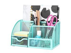 Mesh Desk Organizer Office with 7 Compartments + Drawer Desk Tidy CandyPen HolderMultifunctional Organizer EX348 Turquoise Teal Color