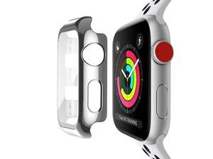 Compatible with Apple Watch 42mm Case with Builtin Tempered Glass Screen Protector Full Coverage Hard iWatch Case for Series 321 Silver 42mm Series 321