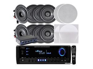 KTHSP390S 4 Pairs of 150W 525 InWall InCeiling Stereo White Speakers w 300W Digital Home Stereo Receiver w USBSDAUX Input Remote w 4 Channel High Power Stereo Speaker Selector