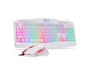 S101 Wired Gaming Keyboard and Mouse Combo RGB Backlit Gaming Keyboard with Multimedia Keys Wrist Rest and Red Backlit Gaming Mouse 3200 DPI for Windows PC Gamers White