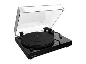RT84 Reference High Fidelity Vinyl Turntable Record Player with Ortofon 2M Blue Cartridge Speed Control Motor Solid Wood Plinth Vibration Isolation Feet Piano Black