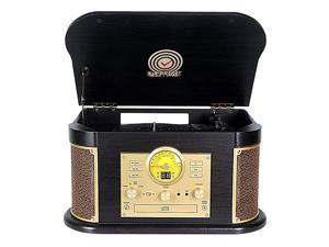 Cassette Record PlayerPhonographs  3Speed Vinyl Turntable Builtin Bluetooth 2x9W Speakers Headphone JackAux InRCALCDUSBMP3CDFMAM Radio Record Player