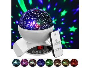 Night Lights Rechargeable Star Projector with Remote Control and Timer Auto Off Design Rotating Projection Lighting Lamp Room Decor White