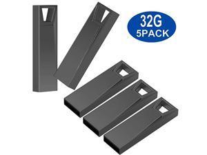 USB Stick  5 Pack 32GB Pen Thumb Flash Drives Jump Drive Memory External Memory Stick with Keychain Design Black