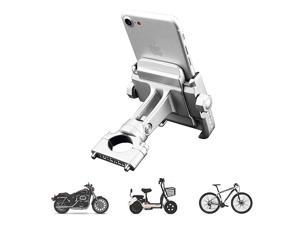 Motorcycle Phone Mount Adjustable Anti Shake Metal Bike Phone Holder for iPhone X876 Plus Samsung Galaxy S9S8S7S6 GPS Holds Devices up to 37 Width Silver