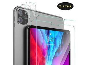 2+2 Pack] Screen Protector for iPad Pro 12.9 2020 & 2021, 9H Hardness HD Clear Tempered Glass Bubble-Free Screen Protector,(2 Packs) Screen Protector + (2 Packs) Camera Lens Protector