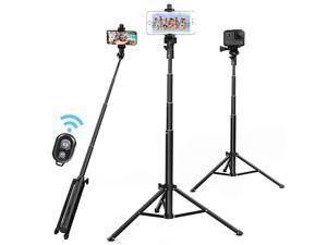 Stick Tripod 52 Inch Cell Phone Tripod Stand with Bluetooth Remote Smartphone for Iphone & Android Cellphone Gopro Camera Mount Portable Monopod Feet Travel Lightweight