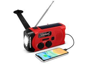 SOS 2000mAh Emergency Solar Hand Crank Portable RadioNOAA Weather Radio for Household and Emergency with AMFMLED FlashlightReading LampUSB ChargerBattery Indicator Red