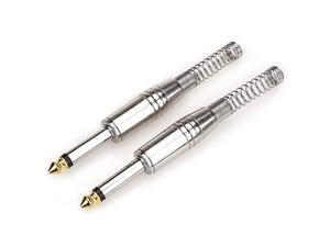 14quot Plugs for Speaker Cables Patch Cables Snakes TS Male Mono 14 Inch Phono 63mm Phone Plug Bulk 2 Pack Silver