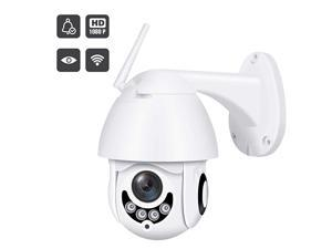 Upgraded Full HD 1080P Security Surveillance Cameras Outdoor Waterproof Wireless PTZ Camera with Night Vision - IP WiFi Cam Surveillance Cam Audio Motion Activated (White)