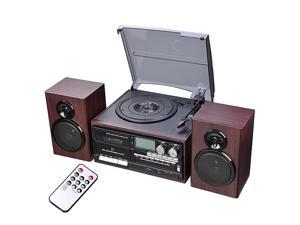Classic Bluetooth Record Player System w/ 2 Speakers 3-Speed Stereo Turntable System CD/Cassette Player AM/FM