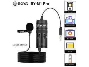 byM1 Pro Omnidirectional Lavalier Microphone Clipon Lapel Mic for Smartphones DSLRs Camcorders Audio Recorders PC Recording