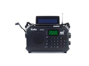 KA700 Bluetooth Emergency Hand Crank Dynamo Solar Powered AM FM Weather NOAA Band Radio with Recorder and MP3 Player Rugged Design for Hiking Camping Construction Sites Etc Black