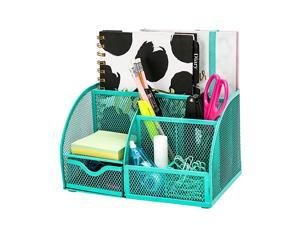 Mesh Desk Organizer Office with 7 Compartments + DrawerDesk Tidy CandyPen HolderMultifunctional Organizer Green Color EX348GRN