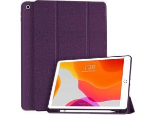New iPad 7th Generation 102quot Case 2019 with Pencil Holder Premium Shockproof Case with Soft TPU Back Cover and Auto SleepWake Function for Apple iPad 7th Gen 102 Inch Purple