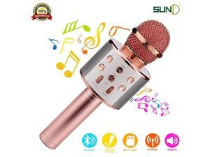 Wireless Bluetooth Karaoke Microphone with Speaker Record Function Best Gift Singing Toy for Kid Rose Gold