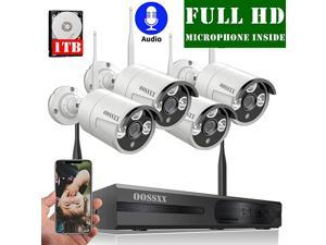Microphone Inside Wireless Video Security Surveillance Camera System with Hard Drive 8CH HD 1080P Home NVRDVR Kit4Pcs 1080P Wireless Outdoor IP Cameras with OneWay AudioP2PApp