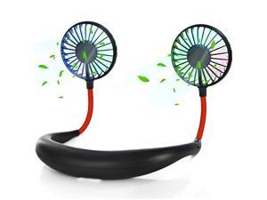 Portable Hand Free Mini USB Personal Rechargeable Sport Neck Fan 2000mAh Rechargeable Battery 3 Speeds Mode 360 Degree Adjustment with Glow LED for Office Travel Outdoor Black