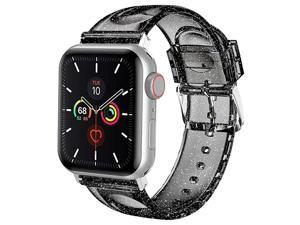 Compatible with Apple Watch Band 42mm 44mm Women Glitter Soft Silicone Sports iWatch Band Strap for Apple Watch Series 654321SE 42mm 44mm BlackSilver Band + Silver Connector