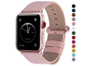 Compatible Apple Watch Band 42mm 44mm 40mm 38mm Leather Compatible iWatch BandStrap Compatible Apple Watch SE Series 6 5 4 3 2 1 42mm 44mm Soft Pink + Rose Pink Buckle