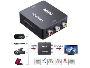 to AV Converter to RCAto AV 1080P to 3RCA CVBS AV Composite Video Audio Converter Adapter Supports PALNTSC with USB Charge Cable for PC Laptop HDTV DVD to AV Black